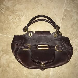 Jimmy choo brown leather satchel bag